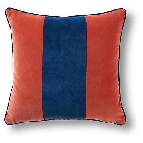 Belden 19x19 Pillow, Denim/Orange Velvet