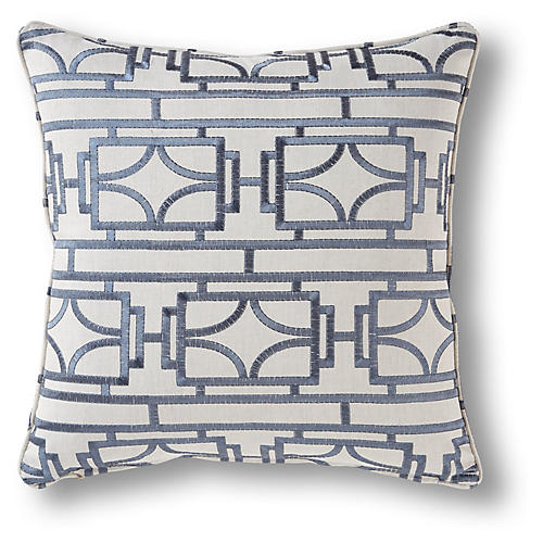 Broman 19x19 Pillow, Blue/Ivory Linen