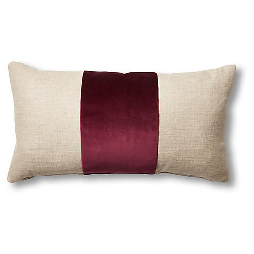 Blakely 12x23 Lumbar Pillow, Natural/Wine