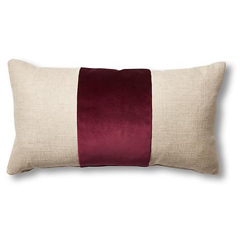 Blakely 12x23 Lumbar Pillow, Natural/Wine