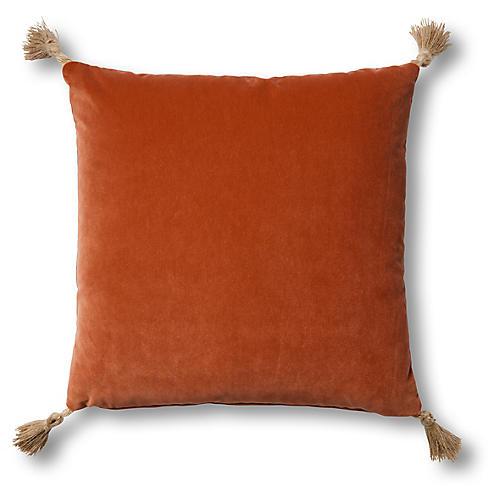 Koren 19x19 Pillow, Orange Velvet