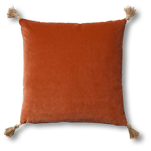 Koren 19x19 Pillow, Orange Velvet
