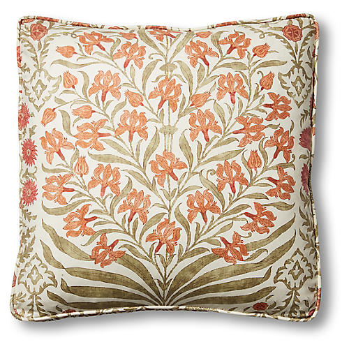 Simona 19x19 Box Pillow, Sage/Rust