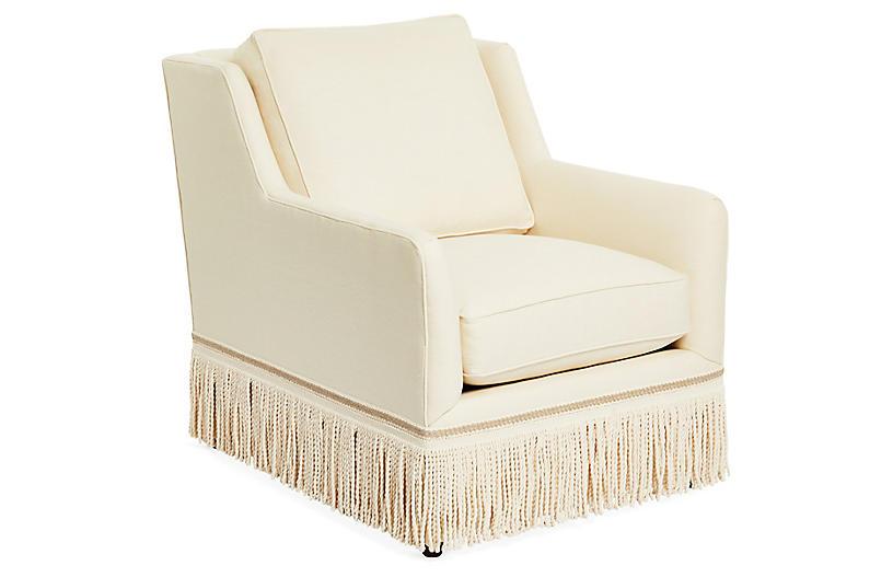 Portsmouth Swivel Chair, Cream Linen