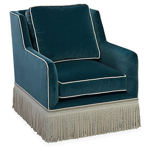 Portsmouth Swivel Club Chair, Teal Velvet