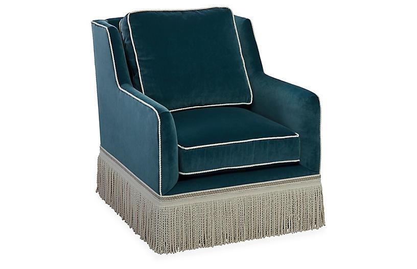 Portsmouth Swivel Chair, Teal Velvet