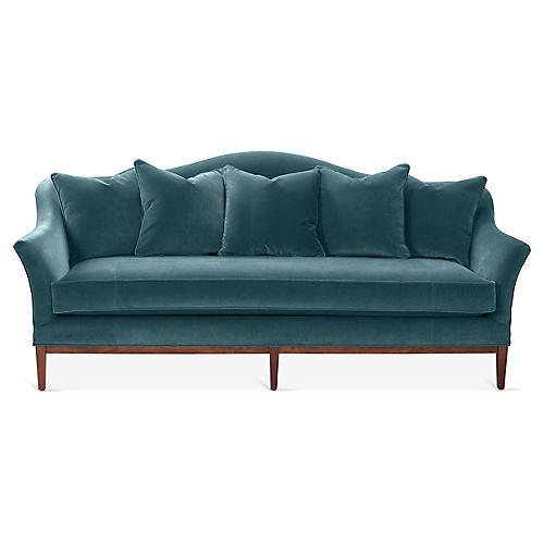 Eloise Camelback Sofa, Teal Velvet