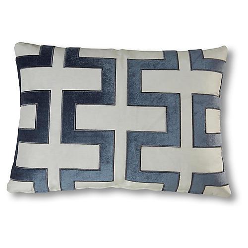 Peyton 15x23 Trellis Pillow, Blue/White