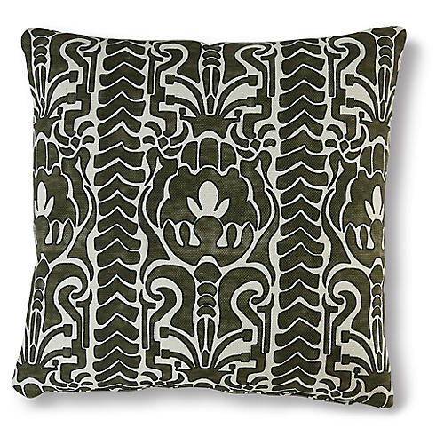 Quinn 19x19 Pillow, Forest/White