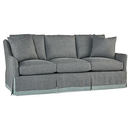 Cyrus Skirted Sofa, Shale Gray Linen