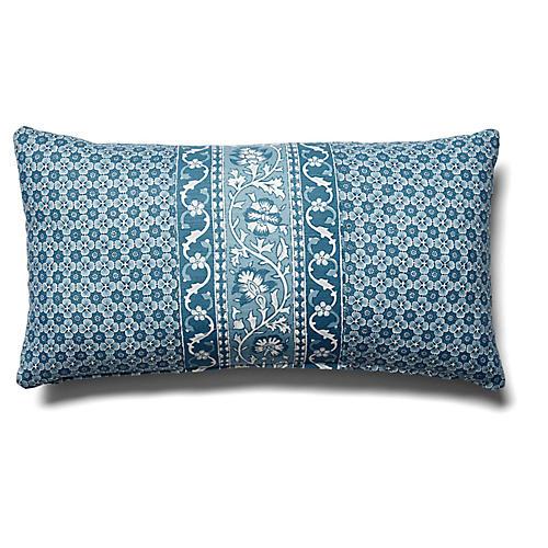 Ojai 12x23 Lumbar Pillow, Indigo Stripe
