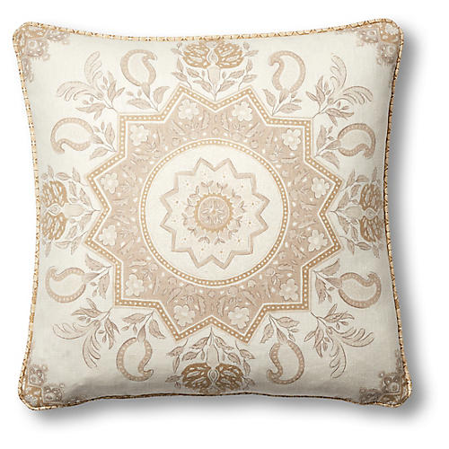 Montecito 19x19 Pillow, Natural/White Linen