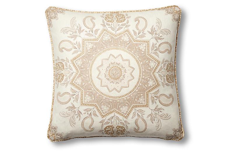 Montecito 19x19 Pillow, Natural/White Linen