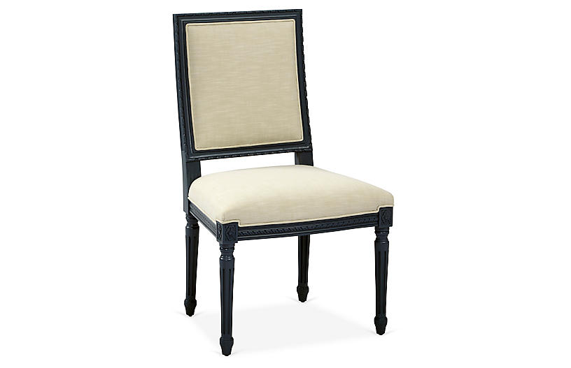 Exeter Side Chair, Ivory Crypton