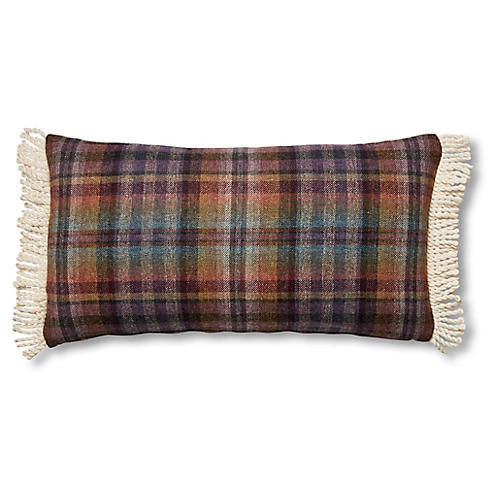 Mills 12x23 Lumbar Pillow, Purple Plaid