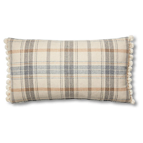 Wyatt 12x23 Lumbar Pillow, Sky Blue Plaid