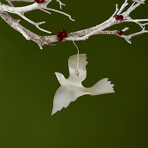 Peace & Hope Dove Ornament, Silver