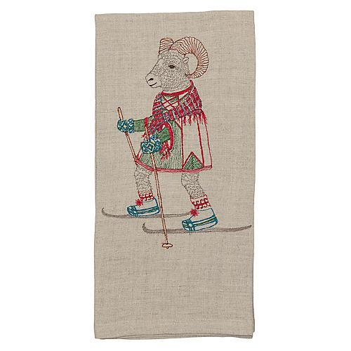 Cross-Country Skiing Ram Tea Towel, Natural/Multi