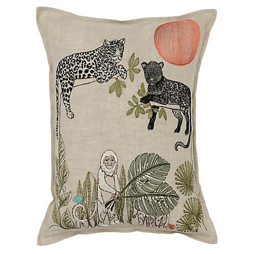 Jungle Sunrise 12x16 Pillow, Natural Linen