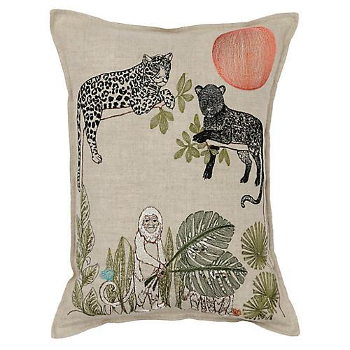 Jungle Sunrise 12x16 Pillow, Natural Linen