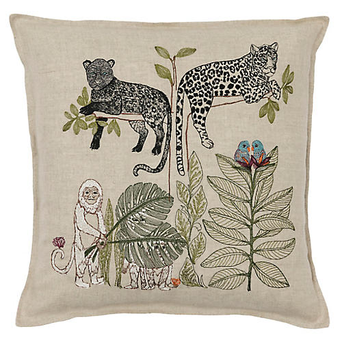 Jungle Living 16x16 Pillow, Natural Linen