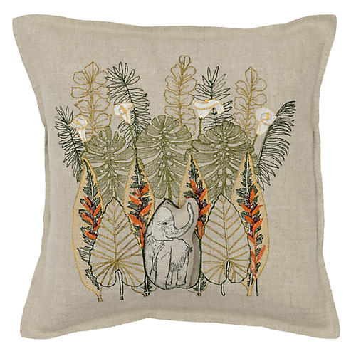Jungle Elephant 12x12 Pillow, Natural Linen