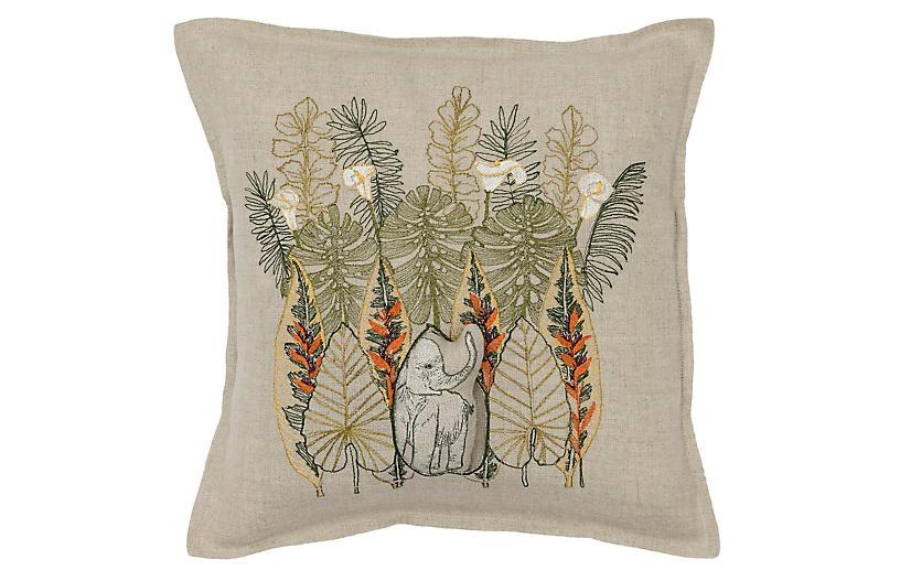 Jungle Elephant 12x12 Pillow, Natural Linen