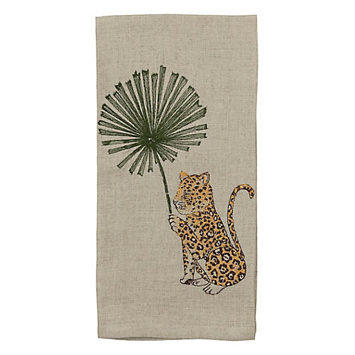 Jaguar with Palm Right Tea Towel, Natural/Multi