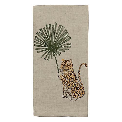 Jaguar with Palm Right Tea Towel, Natural/Multi