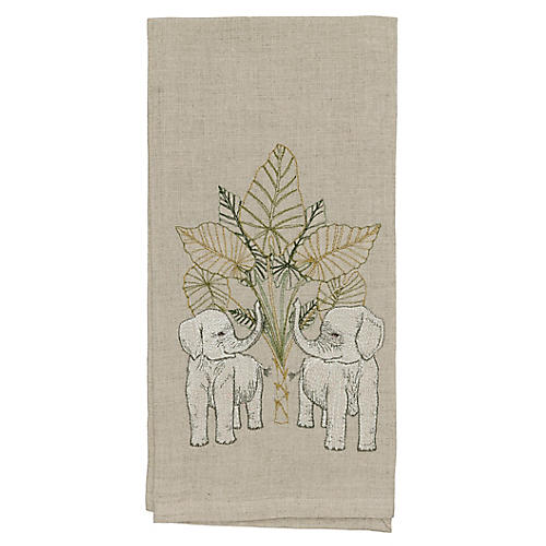 Elephant Grove Tea Towel, Natural/Multi