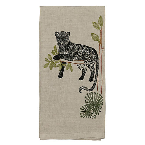 Panther Perch Tea Towel, Natural/Multi