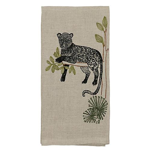 Panther Perch Tea Towel, Natural/Multi