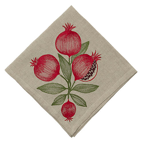 Pomegranate Dinner Napkin, Natural/Multi
