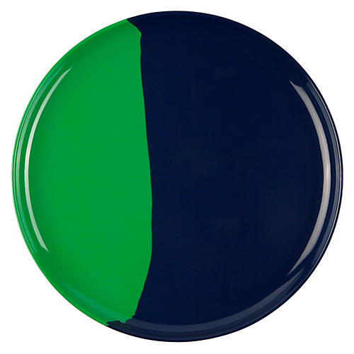 S/4 Melamine Side Plates, Green/Navy