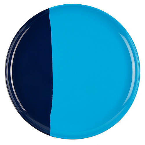 S/4 Melamine Dinner Plates, Light Blue/Navy