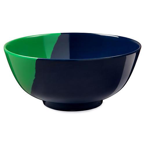 S/4 Melamine Bowls, Green/Navy