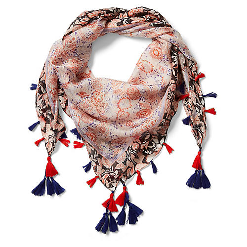 Valencia Silk Scarf, Blue/Orange