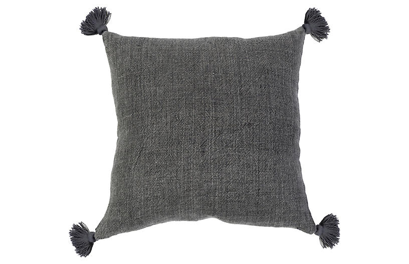 Montauk 20x20 Tassel Pillow, Charcoal Linen