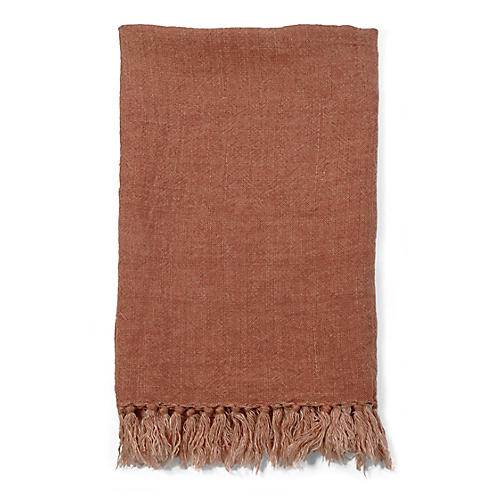 Montauk Linen Throw, Terracotta