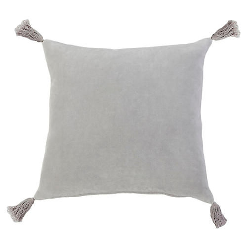 Bianca 20x20 Pillow, Light Gray Velvet