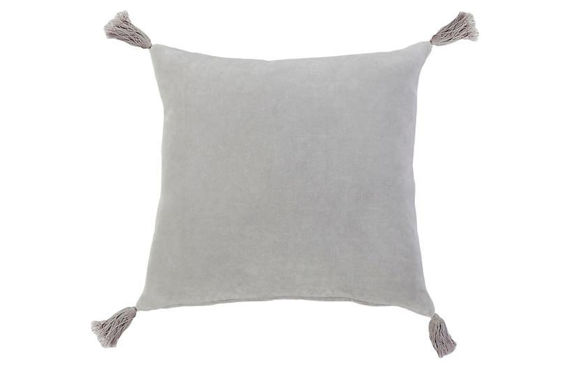Bianca 20x20 Pillow, Light Gray Velvet