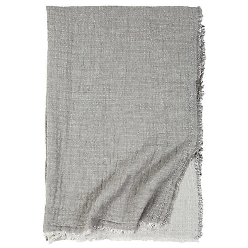 Hermosa Cotton Throw, Light Gray/Cream