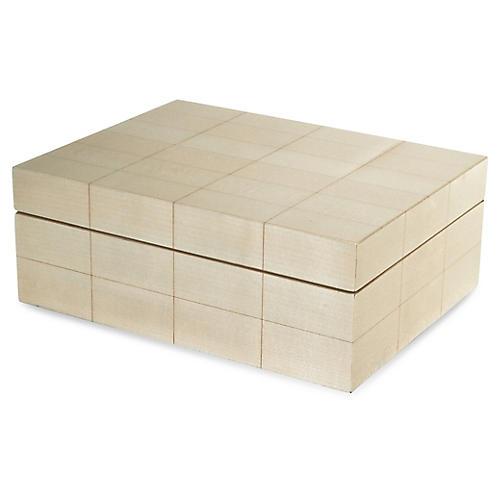 "11"" Heron Grid Decorative Box, Ivory"