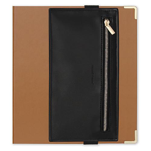 Faux-Leather Pencil Pouch, Black