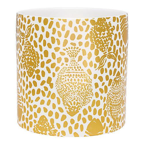 Heart & Soul Vase, Gold/White