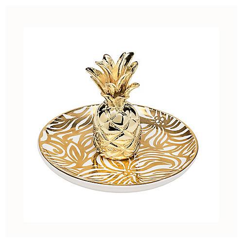 Swirling Floral Ring Holder, Gold/White