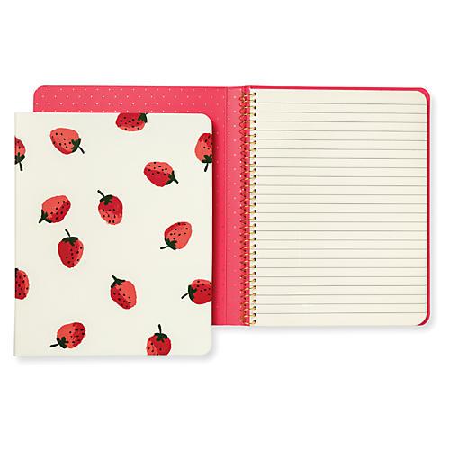 Strawberries Concealed Spiral Notebook, Cream/Red