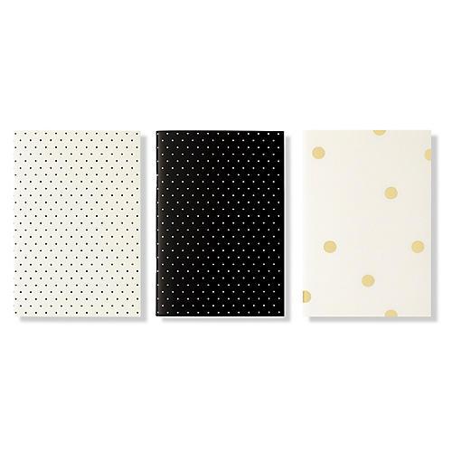 S/3 Dots Notebooks, Black/White