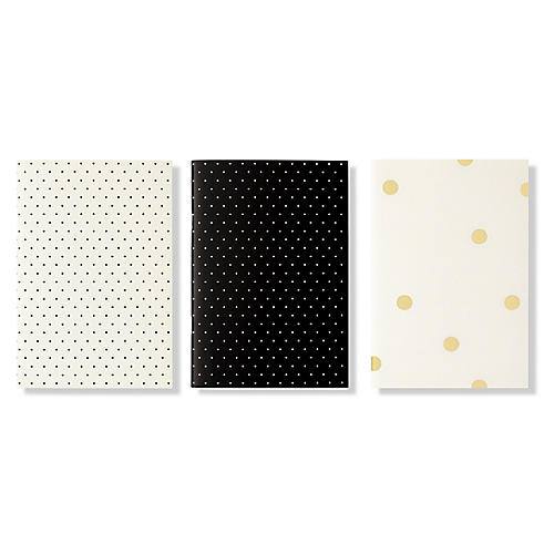 S/3 Dots Notebooks, Black/White