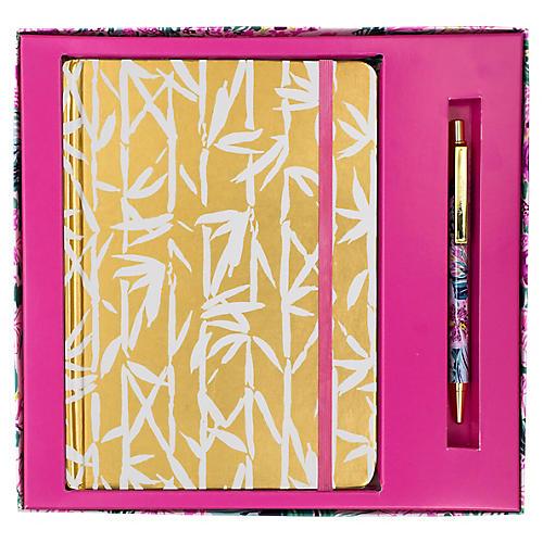 Bamboo Bash Journal w/ Pen, Pink/Gold